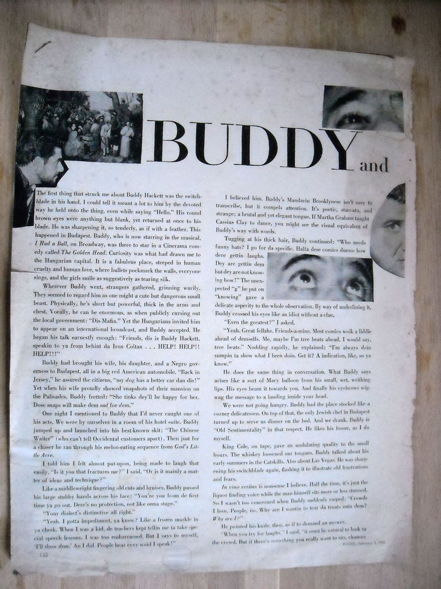 Alexander Eliot story about Buddy Hackett from Vogue 1965